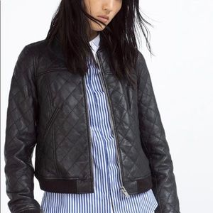 ZARA•quilted black leather bomber jacket S EUC
